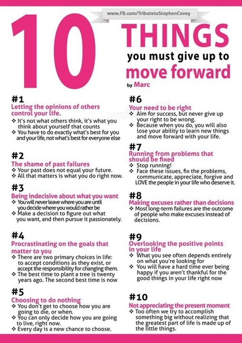 10 thing to give up...to move forward
